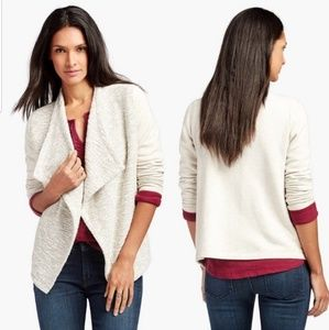 Lucky Brand cream open front drape cardigan